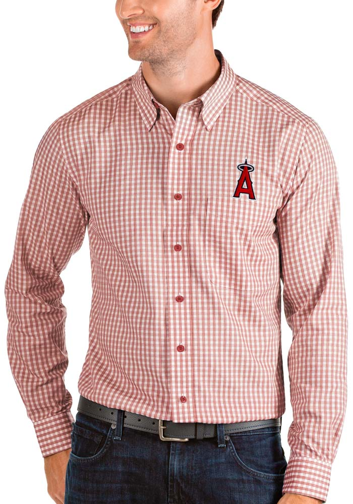 Antigua Los Angeles Angels Mens Red Structure Long Sleeve Dress Shirt - Image 1