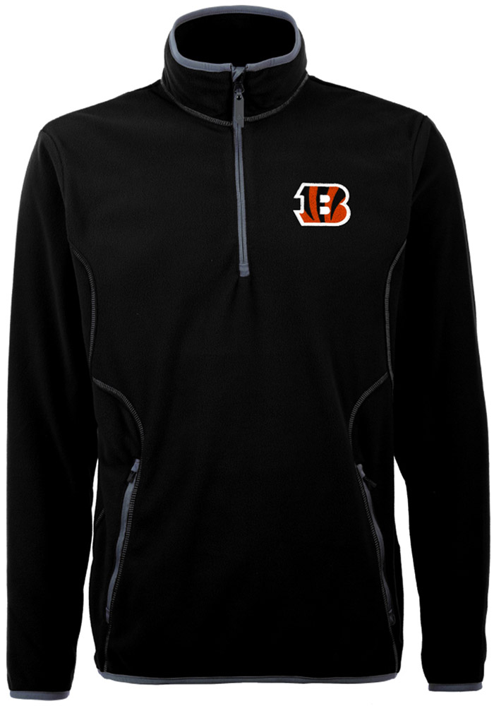 Antigua Cincinnati Bengals Mens Black Ice Long Sleeve 1/4 Zip Pullover - Image 1
