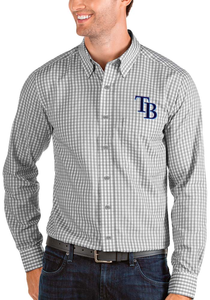 Tampa Bay Rays Mens Grey Structure Long Sleeve Dress Shirt - Image 1
