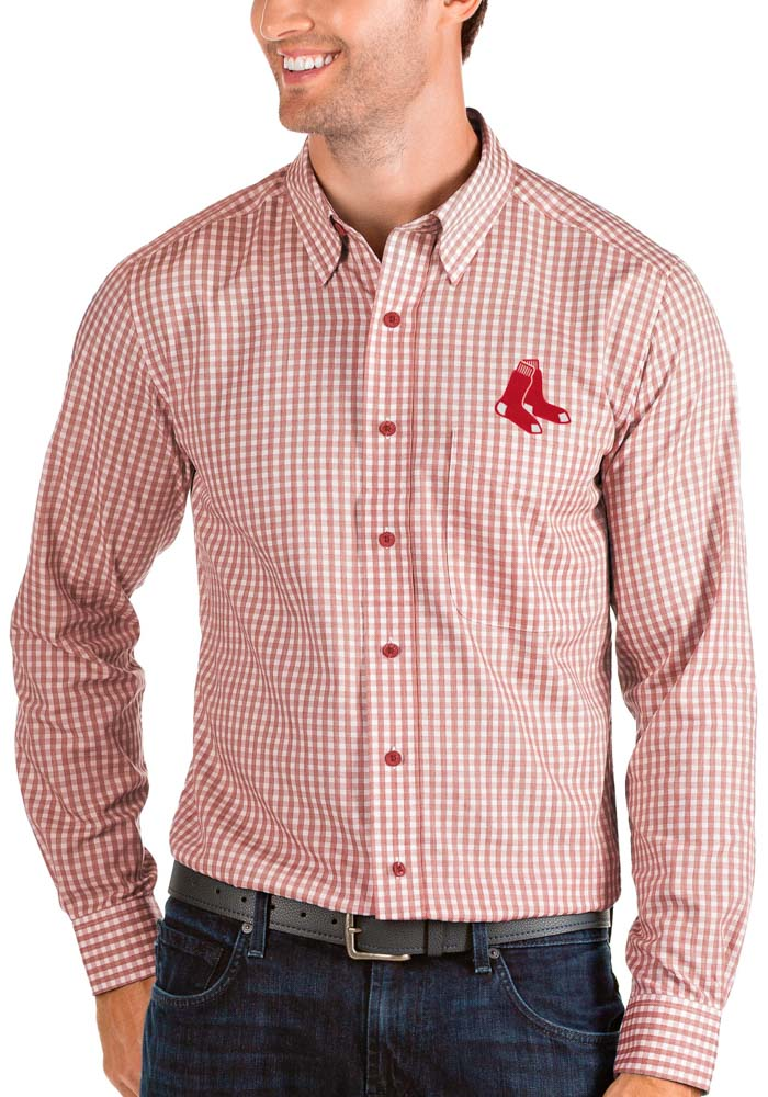 Antigua Boston Red Sox Mens Red Structure Long Sleeve Dress Shirt - Image 1