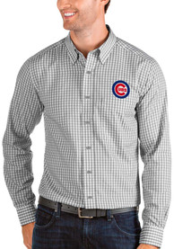 Chicago Cubs Antigua Structure Dress Shirt - Grey