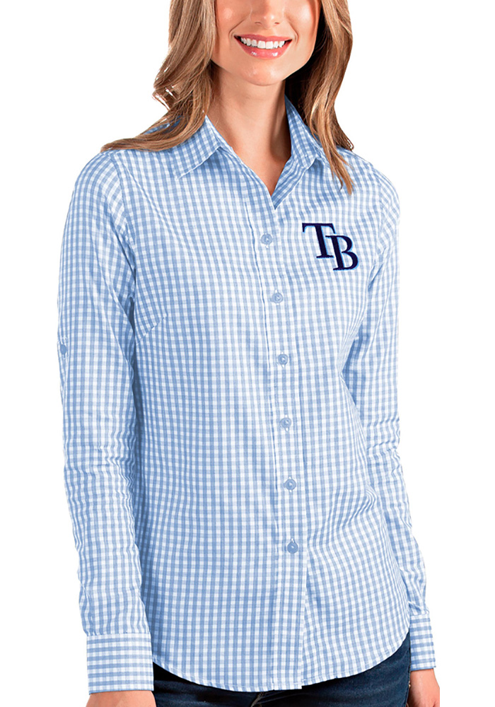 Tampa Bay Rays Womens Structure Long Sleeve Blue Dress Shirt - Image 1