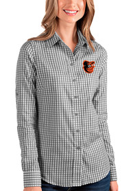 Baltimore Orioles Womens Antigua Structure Dress Shirt - Black