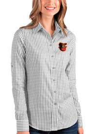 Baltimore Orioles Womens Antigua Structure Dress Shirt - Grey