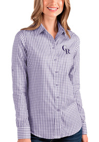 Colorado Rockies Womens Antigua Structure Dress Shirt - Purple