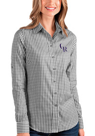 Colorado Rockies Womens Antigua Structure Dress Shirt - Black