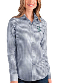 Seattle Mariners Womens Antigua Structure Dress Shirt - Navy Blue