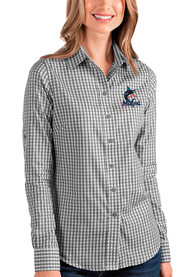 Miami Marlins Womens Antigua Structure Dress Shirt - Black