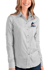 Miami Marlins Womens Antigua Structure Dress Shirt - Grey