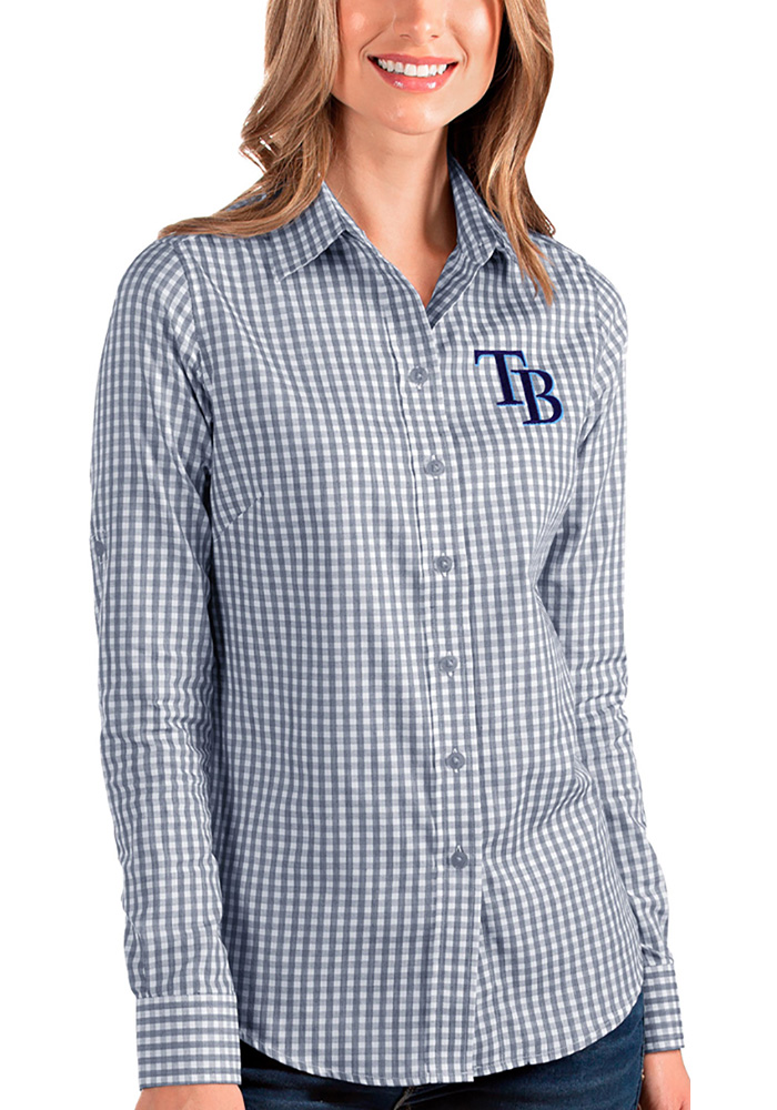 Tampa Bay Rays Womens Structure Long Sleeve Navy Blue Dress Shirt - Image 1