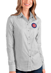 Chicago Cubs Womens Antigua Structure Dress Shirt - Grey