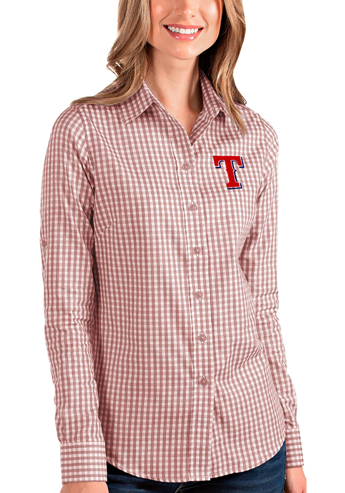 Antigua Texas Rangers Womens Structure Long Sleeve Red Dress Shirt - Image 1