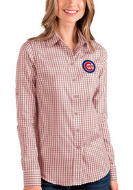 Chicago Cubs Womens Antigua Structure Dress Shirt - Red