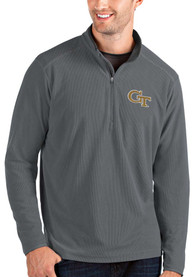 GA Tech Yellow Jackets Antigua Glacier 1/4 Zip Pullover - Grey