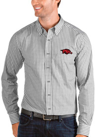 Arkansas Razorbacks Antigua Structure Dress Shirt - Grey