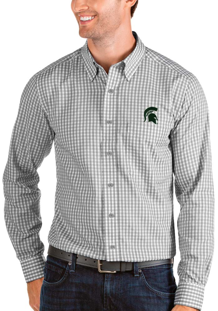Antigua Michigan State Spartans Mens Grey Structure Long Sleeve Dress Shirt - Image 1