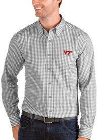Virginia Tech Hokies Antigua Structure Dress Shirt - Grey