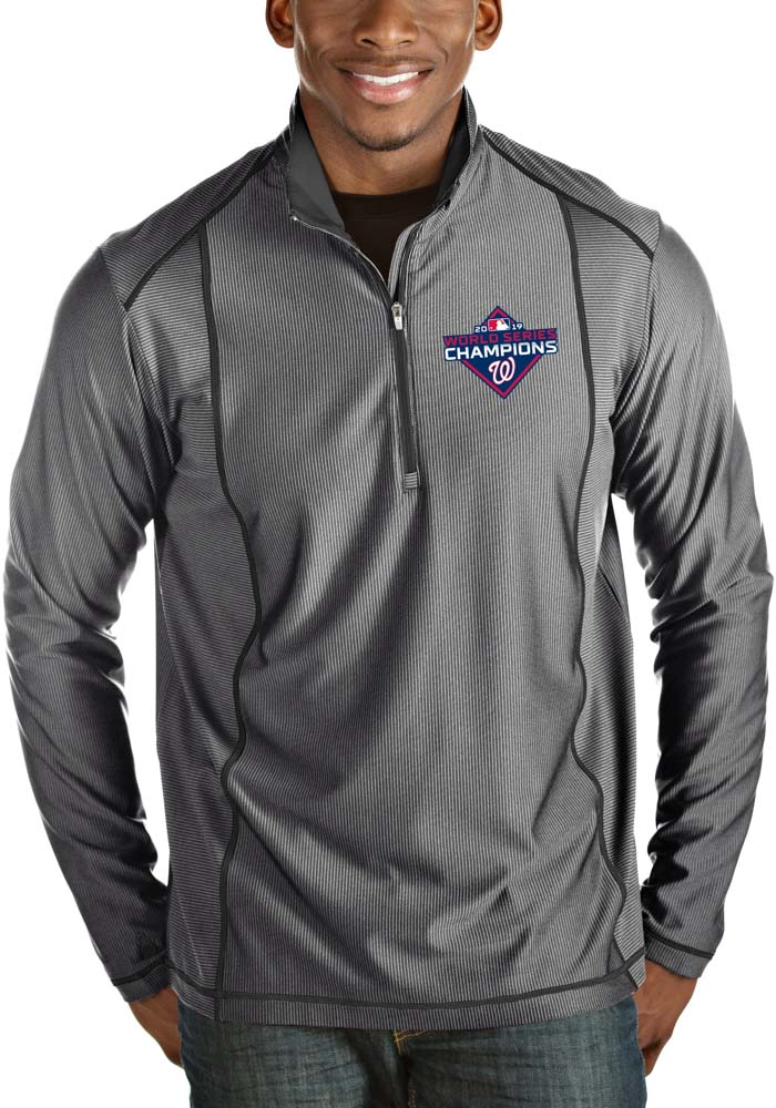 Antigua Washington Nationals Mens Grey 2019 World Series Champions Tempo Long Sleeve 1/4 Zip Pullover - Image 1