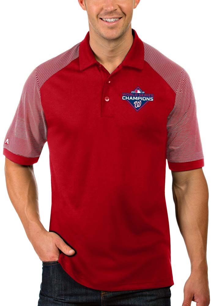 Antigua Washington Nationals Mens Red 2019 World Series Champions Engage Short Sleeve Polo - Image 1