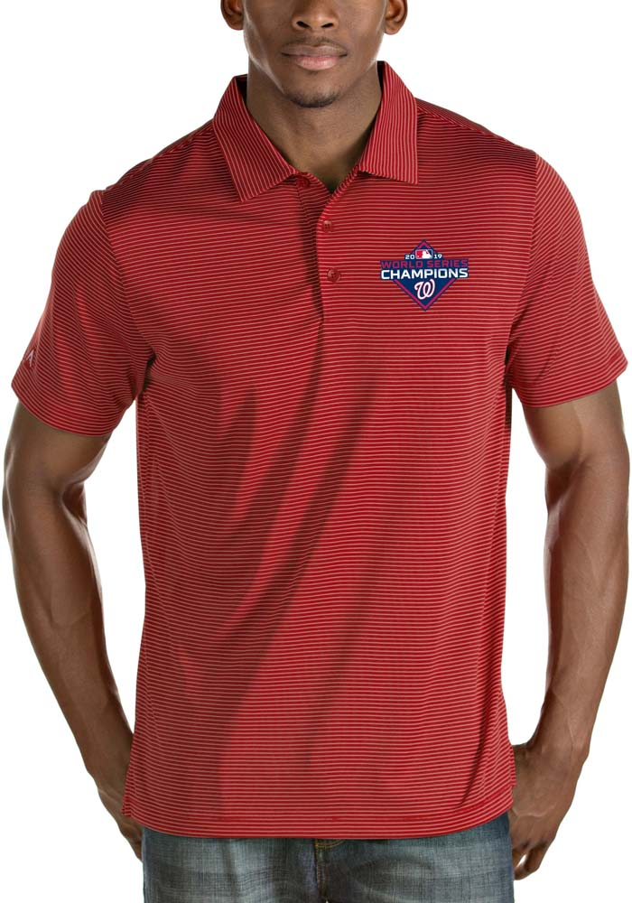 Antigua Washington Nationals Mens Red 2019 World Series Champions Quest Short Sleeve Polo - Image 1