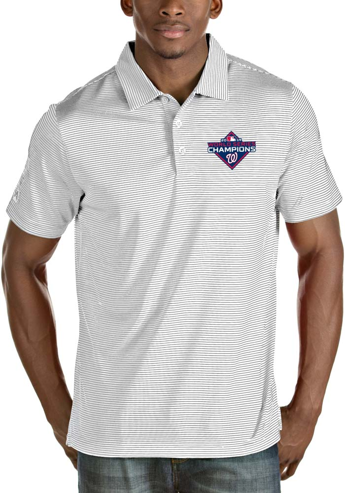 Antigua Washington Nationals Mens White 2019 World Series Champions Quest Short Sleeve Polo - Image 1