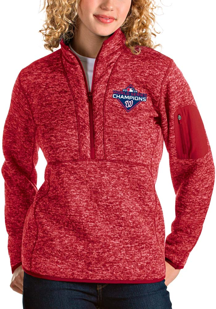 Antigua Washington Nationals Womens Red 2019 World Series Champions Fortune 1/4 Zip Pullover - Image 1