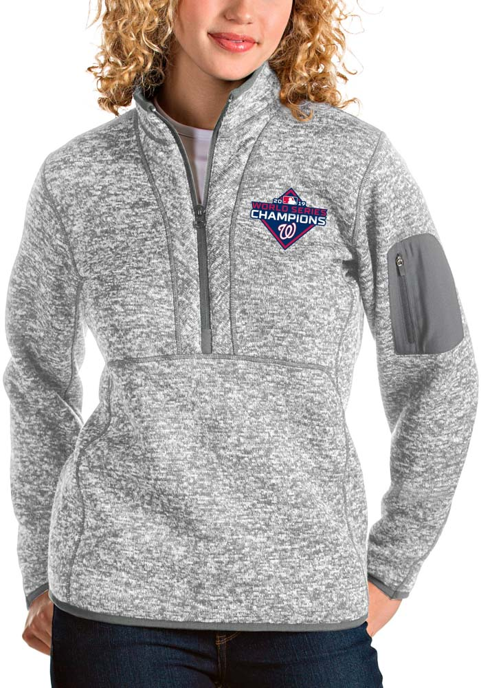 Antigua Washington Nationals Womens Grey 2019 World Series Champions Fortune 1/4 Zip Pullover - Image 1
