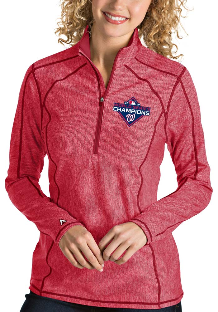 Antigua Washington Womens Red 2019 World Series Champions Tempo 1/4 Zip Pullover - Image 1