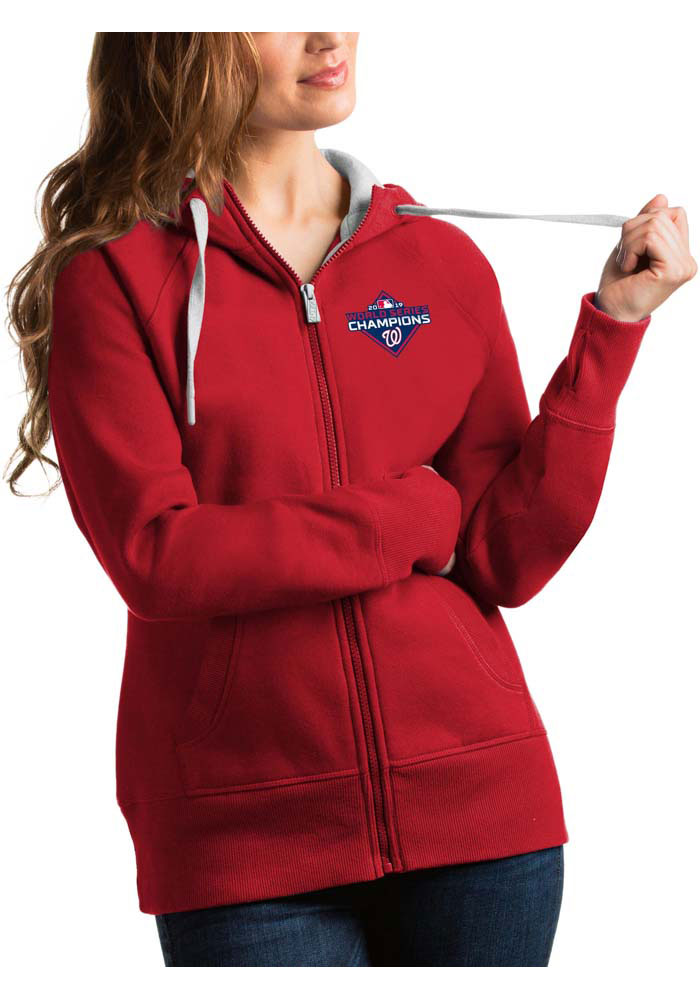 Antigua Washington Nationals Womens Red 2019 World Series Champions Victory Long Sleeve Full Zip Jacket - Image 1