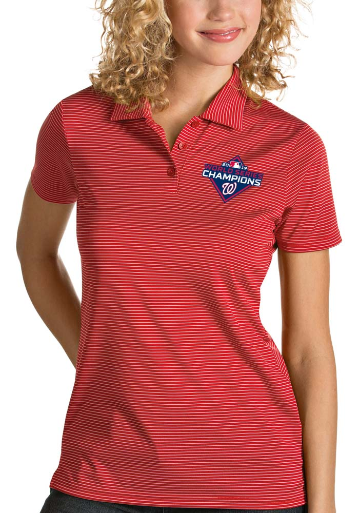 Antigua Washington Nationals Womens Red 2019 World Series Champions Quest Short Sleeve Polo Shirt - Image 1