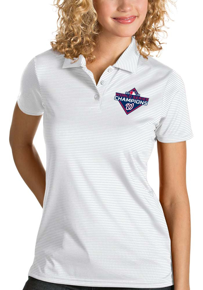 Antigua Washington Nationals Womens White 2019 World Series Champions Quest Short Sleeve Polo Shirt - Image 1