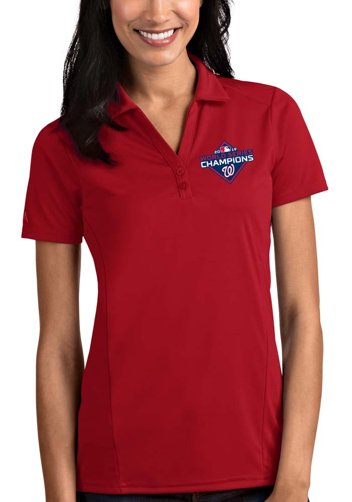 Antigua Washington Nationals Womens Red 2019 World Series Champions Tribute Short Sleeve Polo Shirt - Image 1