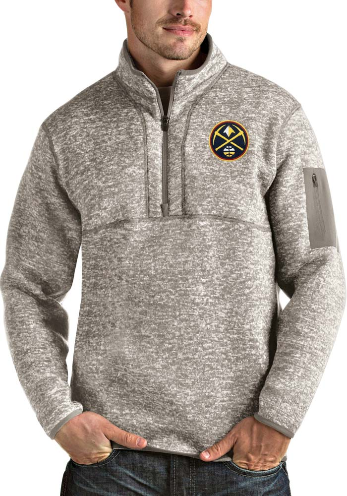 Antigua Denver Nuggets Mens Oatmeal Fortune Long Sleeve 1/4 Zip Fashion Pullover - Image 1