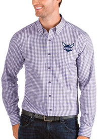 Charlotte Hornets Antigua Structure Dress Shirt - Purple