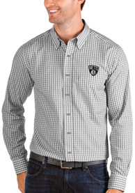 Brooklyn Nets Antigua Structure Dress Shirt - Grey