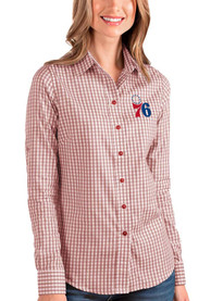 Philadelphia 76ers Womens Antigua Structure Dress Shirt - Red
