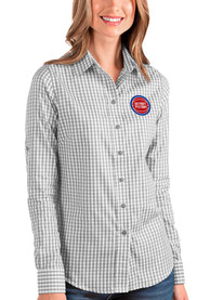 Detroit Pistons Womens Antigua Structure Dress Shirt - Grey