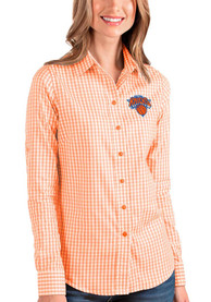 Antigua New York Knicks Womens Orange Structure Dress Shirt