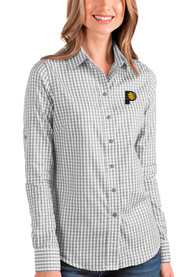 Indiana Pacers Womens Antigua Structure Dress Shirt - Grey