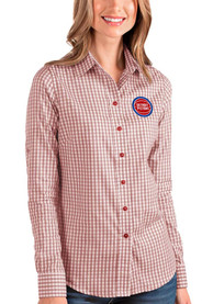 Detroit Pistons Womens Antigua Structure Dress Shirt - Red
