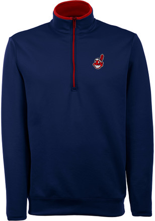 Antigua Cleveland Indians Mens Navy Blue Leader 1/4 Zip Pullover