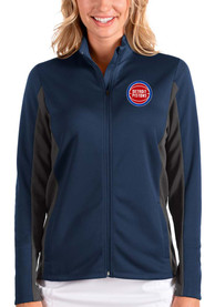 Detroit Pistons Womens Antigua Passage Medium Weight Jacket - Navy Blue