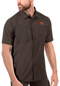 Antigua Cleveland Browns Brown Kickoff Dress Shirt