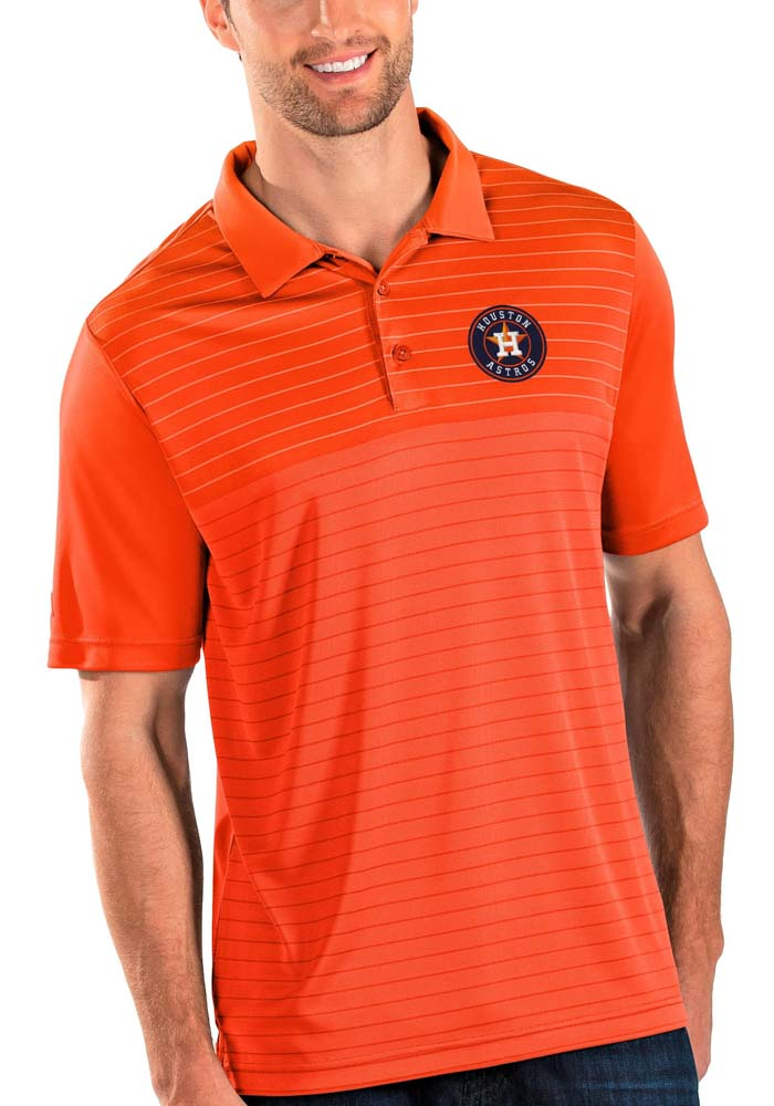 Antigua Houston Astros Mens Orange Relay Short Sleeve Polo - Image 1