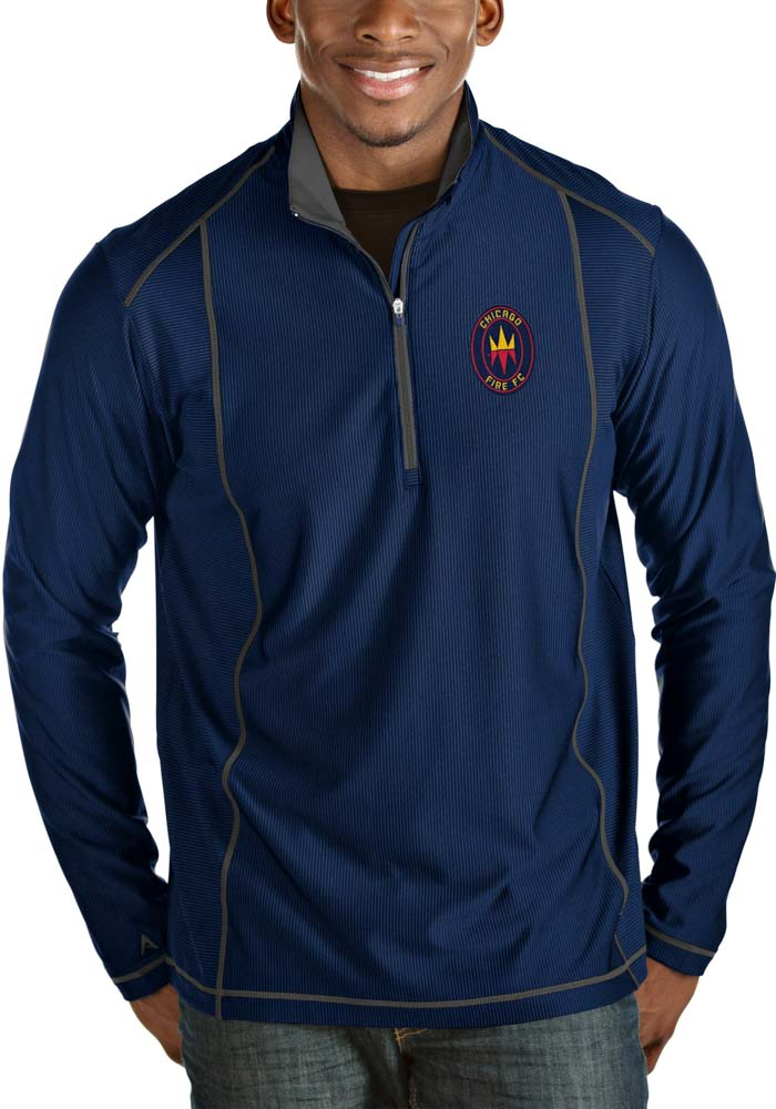Antigua Chicago Fire Mens Blue Tempo Long Sleeve 1/4 Zip Pullover - Image 1