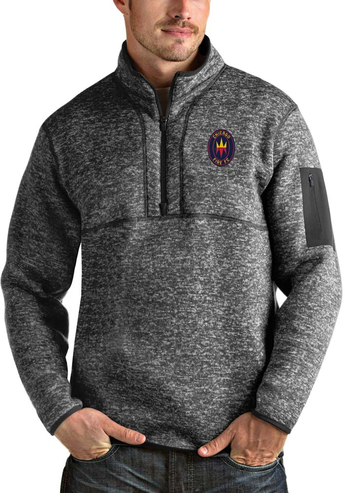 Antigua Chicago Fire Mens Grey Fortune Long Sleeve 1/4 Zip Fashion Pullover - Image 1