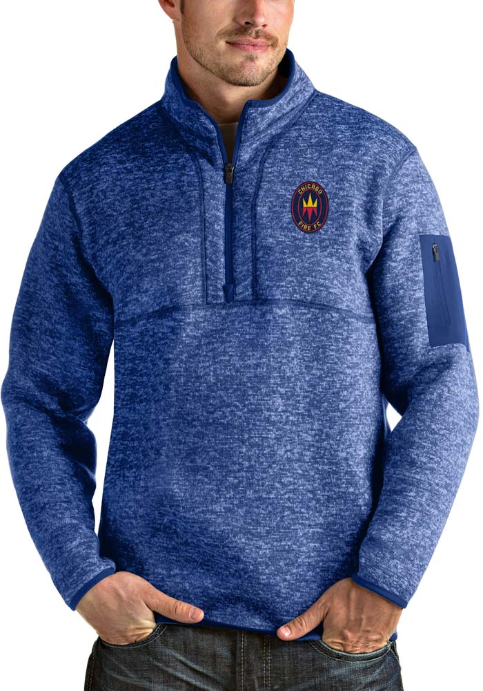 Antigua Chicago Fire Mens Blue Fortune Long Sleeve 1/4 Zip Fashion Pullover - Image 1