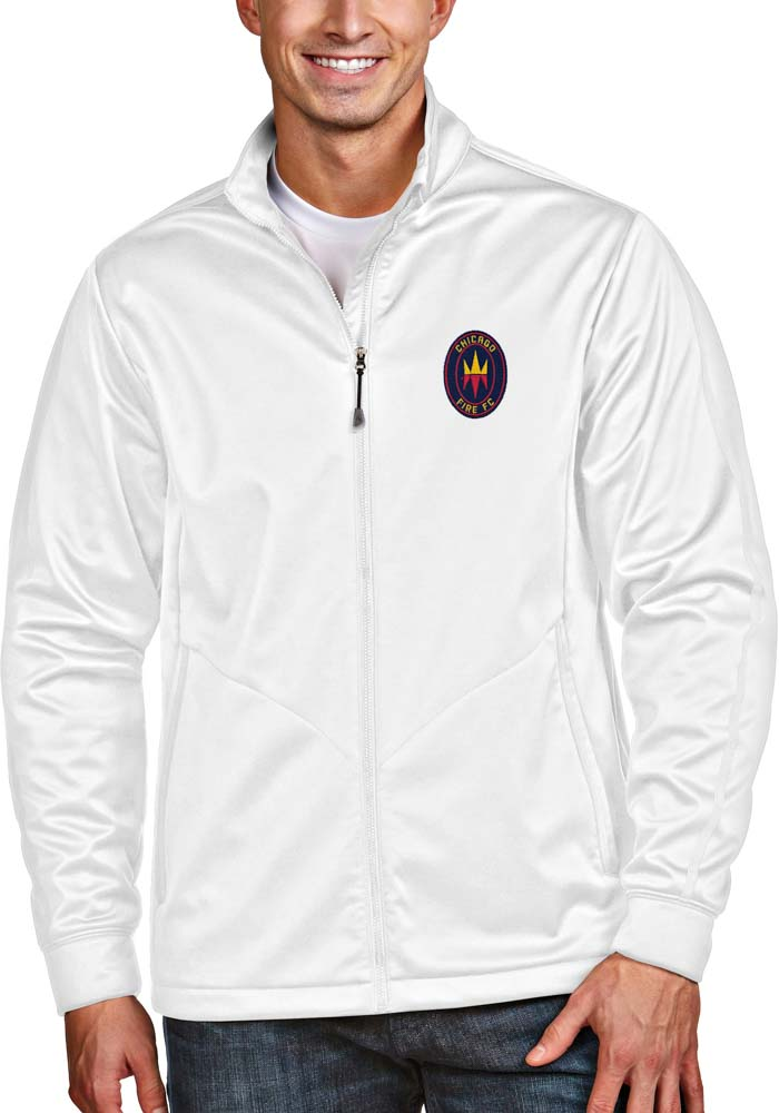 Antigua Chicago Fire Mens White Golf Light Weight Jacket - Image 1