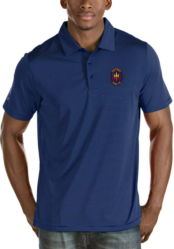 Antigua Chicago Fire Mens Blue Quest Short Sleeve Polo - Image 1