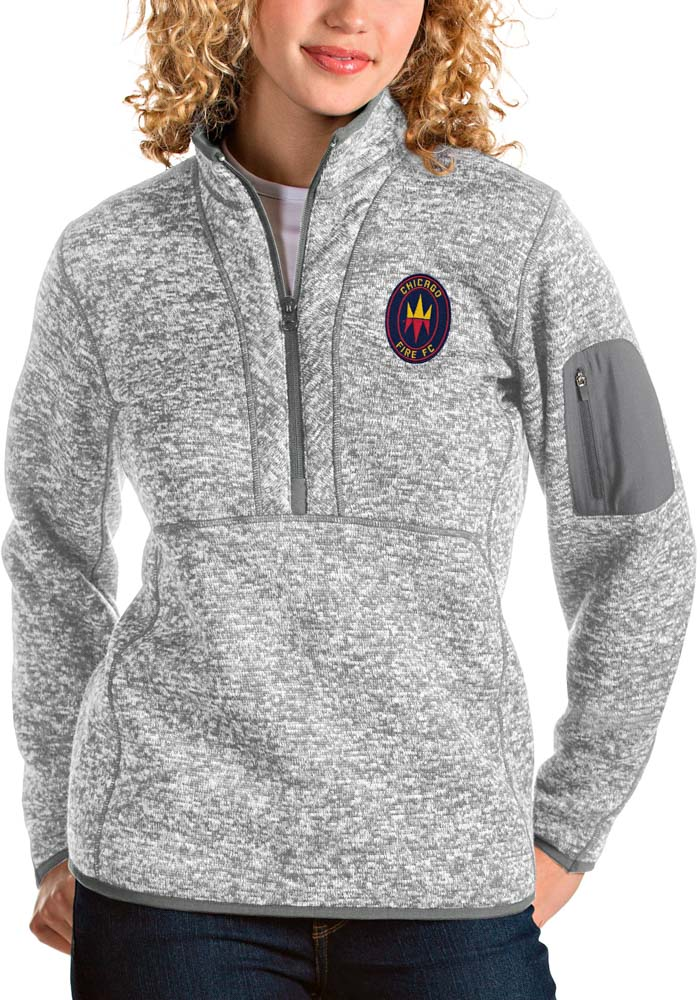 Antigua Chicago Fire Womens Grey Fortune 1/4 Zip Pullover - Image 1